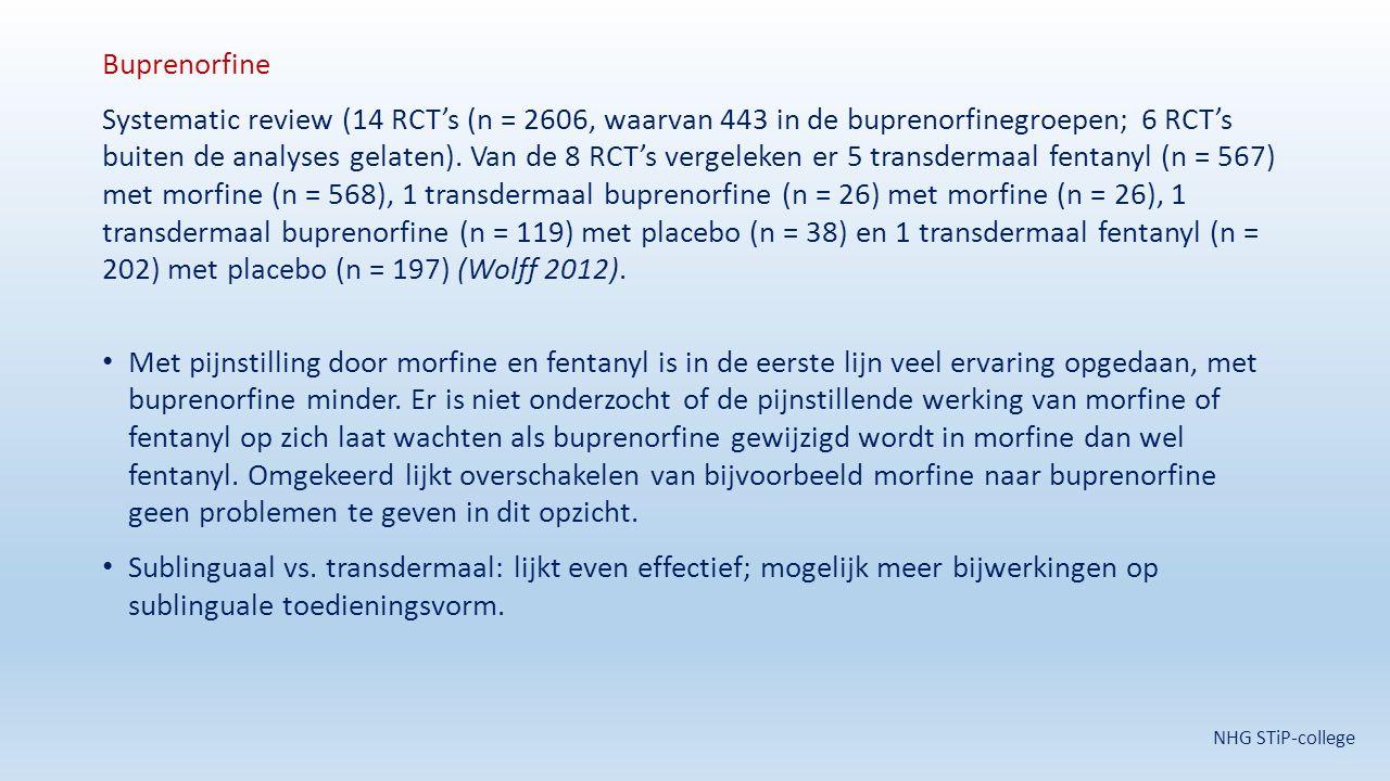 Buprenorfine Systematic review (14 RCT's (n = 2606, waarvan 443 in de buprenorfinegroepen; 6 RCT's buiten de analyses gelaten). Van de 8 RCT's vergele