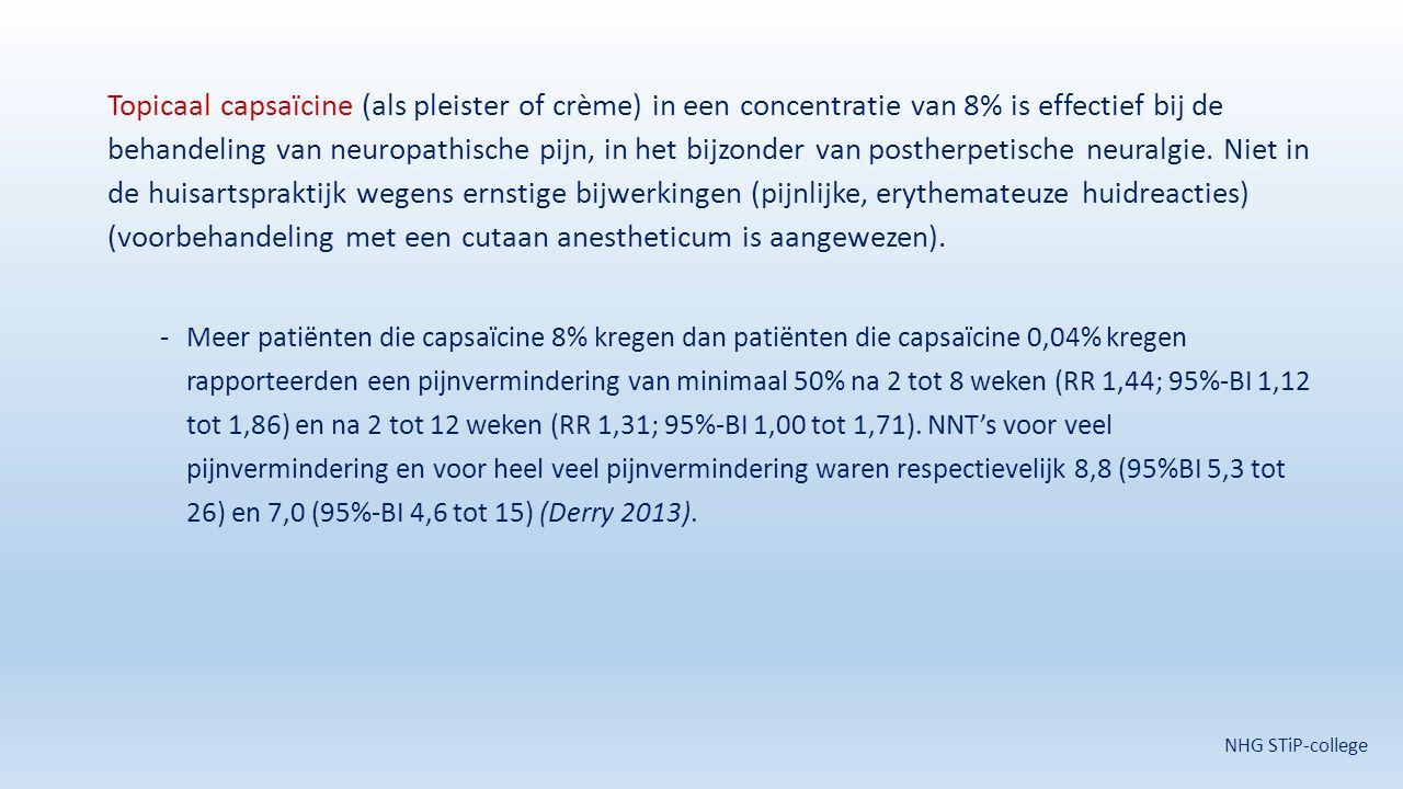 Topicaal capsaïcine (als pleister of crème) in een concentratie van 8% is effectief bij de behandeling van neuropathische pijn, in het bijzonder van p