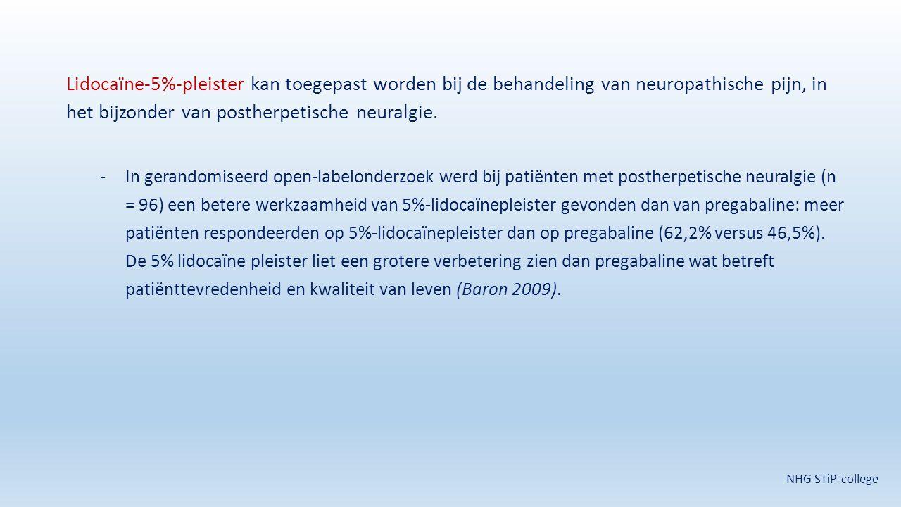 Lidocaïne-5%-pleister kan toegepast worden bij de behandeling van neuropathische pijn, in het bijzonder van postherpetische neuralgie. -In gerandomise