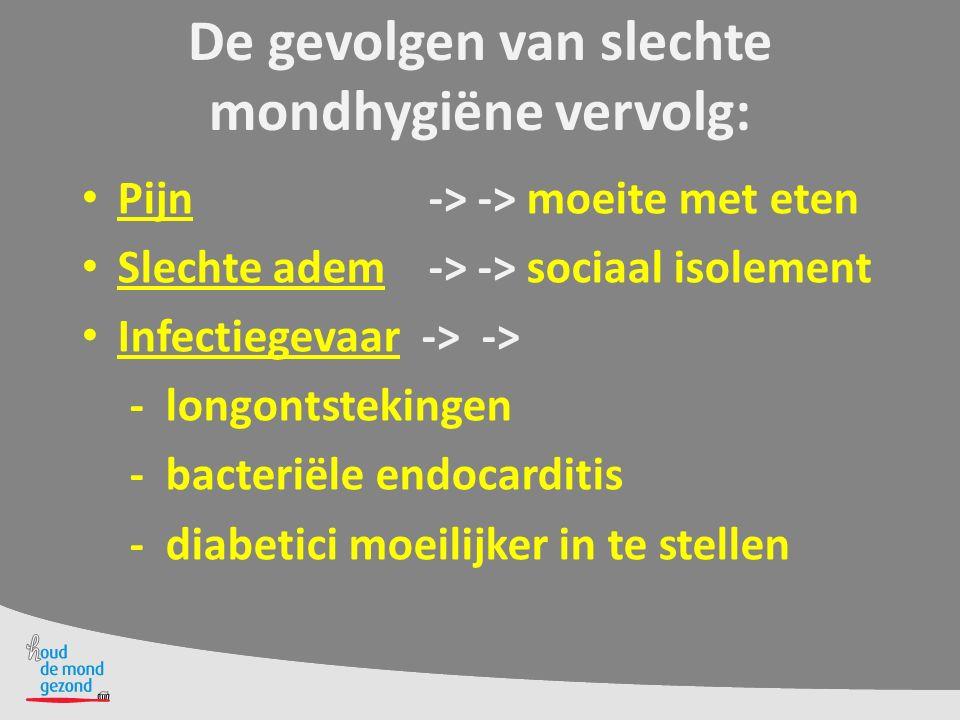 Halitose /vieze adem door:  Bacteriën in de mond  Slechte mondhygiëne  Droge mond  Voortschrijdende cariës (gaatjes)  Gingivitis en parodontitis (ontstekingen)  Ulceratieve stomatitis (slijmvliesontstekingen
