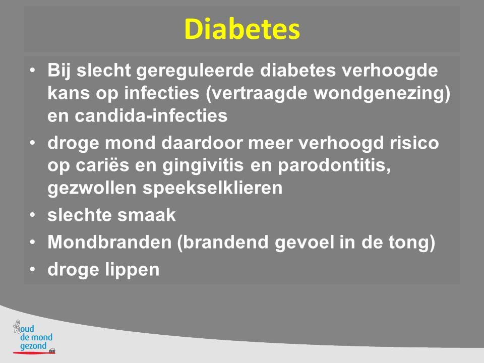 Diabetes parodontitis beïnvloedt glucose- regulatie diabetes patiënten met ernstige parodontitis hebben een 6x zo groot risico op moeizaam instelbare bloedsuikerspiegel