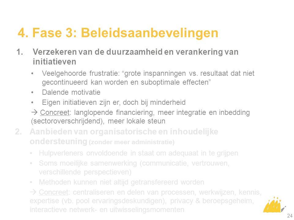 """4. Fase 3: Beleidsaanbevelingen 1. Verzekeren van de duurzaamheid en verankering van initiatieven Veelgehoorde frustratie: """"grote inspanningen vs. res"""