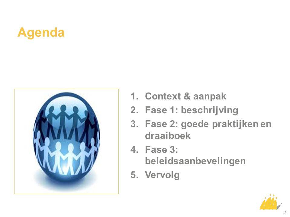 2 1.Context & aanpak 2.Fase 1: beschrijving 3.Fase 2: goede praktijken en draaiboek 4.Fase 3: beleidsaanbevelingen 5.Vervolg Agenda