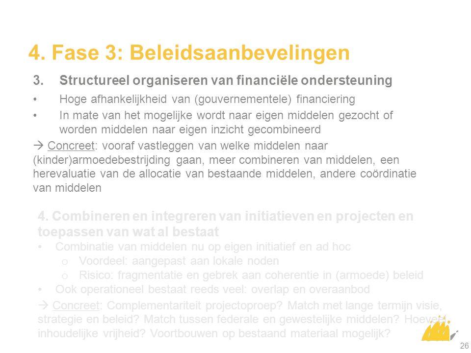 4. Fase 3: Beleidsaanbevelingen 3.Structureel organiseren van financiële ondersteuning Hoge afhankelijkheid van (gouvernementele) financiering In mate
