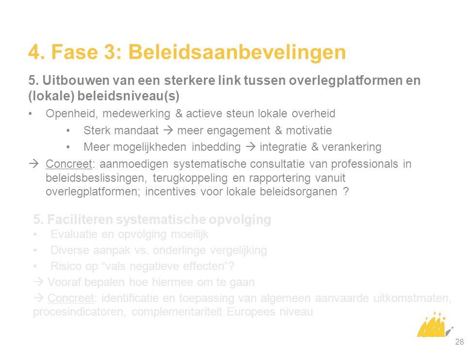 4. Fase 3: Beleidsaanbevelingen 5. Uitbouwen van een sterkere link tussen overlegplatformen en (lokale) beleidsniveau(s) Openheid, medewerking & actie