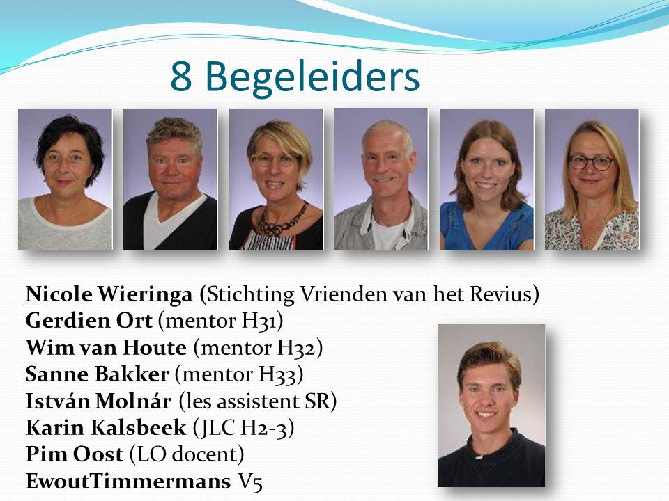 8 Begeleiders Nicole Wieringa (Stichting Vrienden van het Revius) Gerdien Ort (mentor H31) Wim van Houte (mentor H32) Sanne Bakker (mentor H33) István