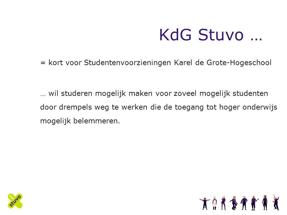 KdG Stuvo … = kort voor Studentenvoorzieningen Karel de Grote-Hogeschool … wil studeren mogelijk maken voor zoveel mogelijk studenten door drempels weg te werken die de toegang tot hoger onderwijs mogelijk belemmeren.