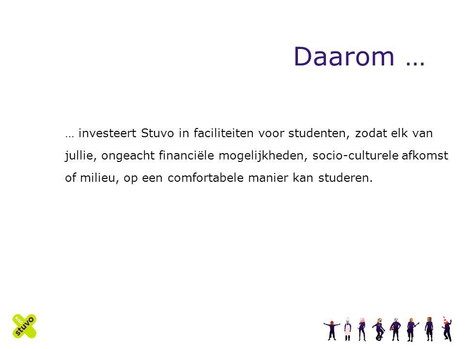 Daarom … … investeert Stuvo in faciliteiten voor studenten, zodat elk van jullie, ongeacht financiële mogelijkheden, socio-culturele afkomst of milieu, op een comfortabele manier kan studeren.