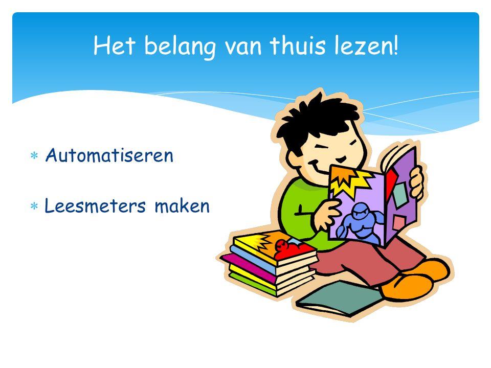 Het belang van thuis lezen!  Automatiseren  Leesmeters maken