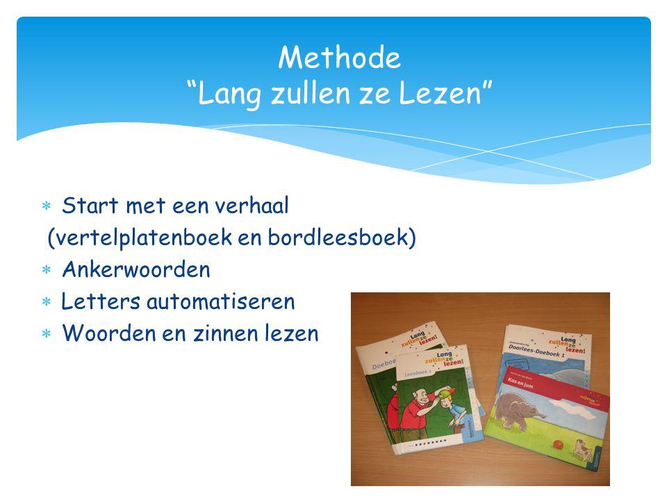 """ Start met een verhaal (vertelplatenboek en bordleesboek)  Ankerwoorden  Letters automatiseren  Woorden en zinnen lezen Methode """"Lang zullen ze Le"""