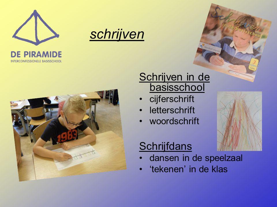 schrijven Schrijven in de basisschool cijferschrift letterschrift woordschrift Schrijfdans dansen in de speelzaal 'tekenen' in de klas