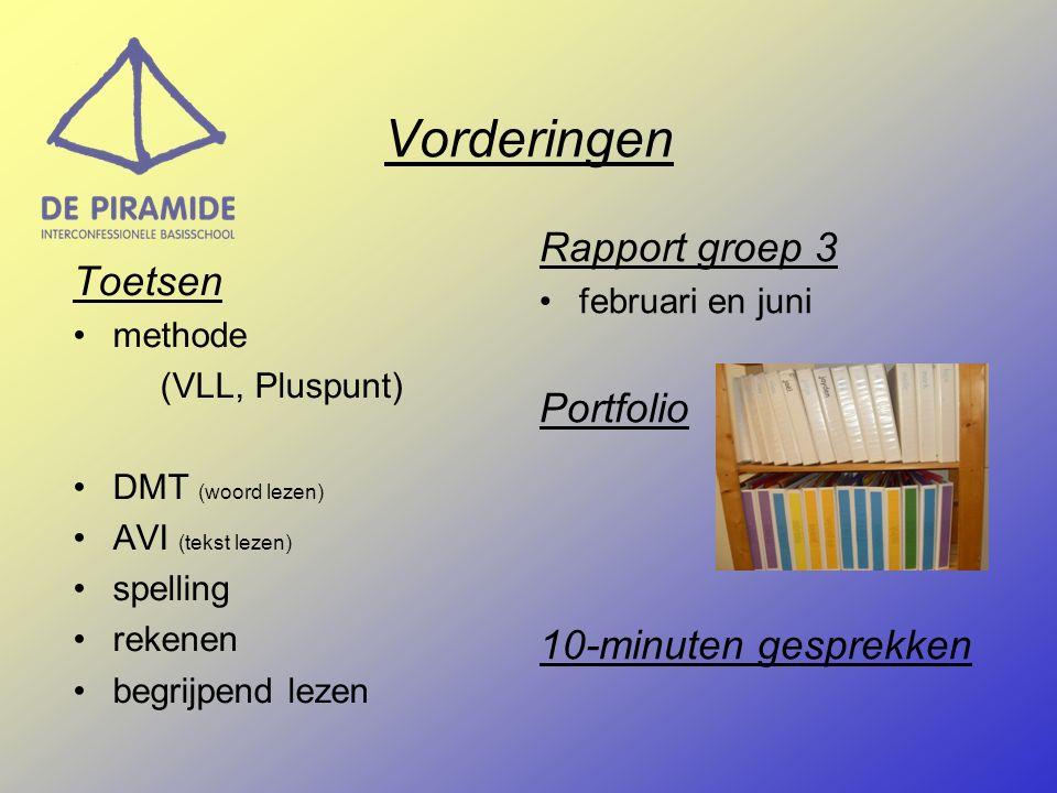 Vorderingen Toetsen methode (VLL, Pluspunt) DMT (woord lezen) AVI (tekst lezen) spelling rekenen begrijpend lezen Rapport groep 3 februari en juni Portfolio 10-minuten gesprekken