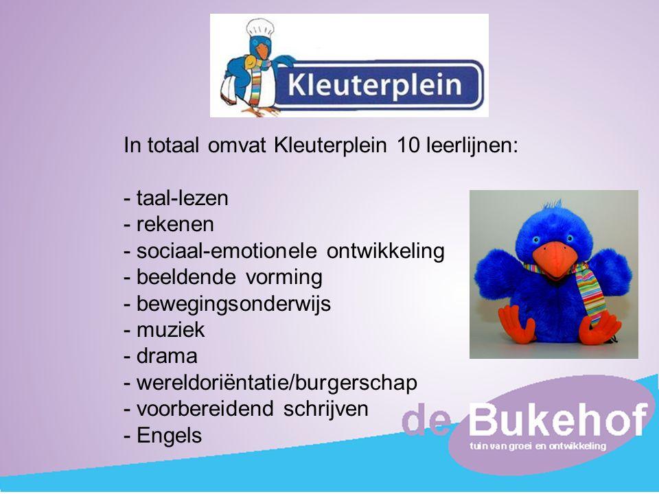 In totaal omvat Kleuterplein 10 leerlijnen: - taal-lezen - rekenen - sociaal-emotionele ontwikkeling - beeldende vorming - bewegingsonderwijs - muziek