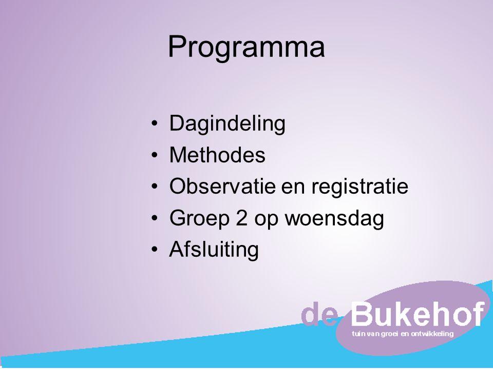 Programma Dagindeling Methodes Observatie en registratie Groep 2 op woensdag Afsluiting