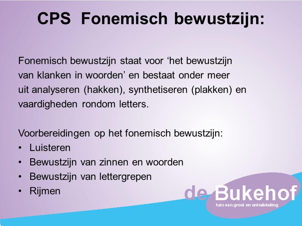 CPS Fonemisch bewustzijn: Fonemisch bewustzijn staat voor 'het bewustzijn van klanken in woorden' en bestaat onder meer uit analyseren (hakken), synth