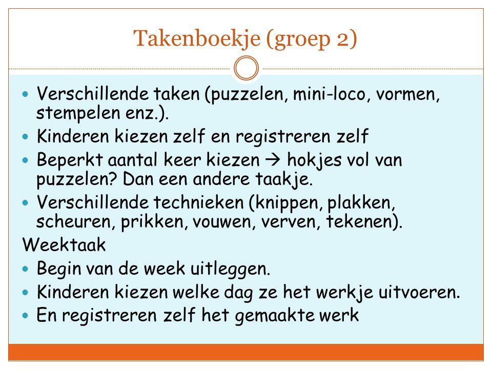 Takenboekje (groep 2) Verschillende taken (puzzelen, mini-loco, vormen, stempelen enz.).