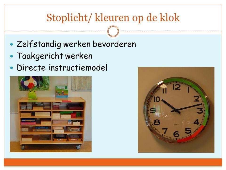 Stoplicht/ kleuren op de klok Zelfstandig werken bevorderen Taakgericht werken Directe instructiemodel