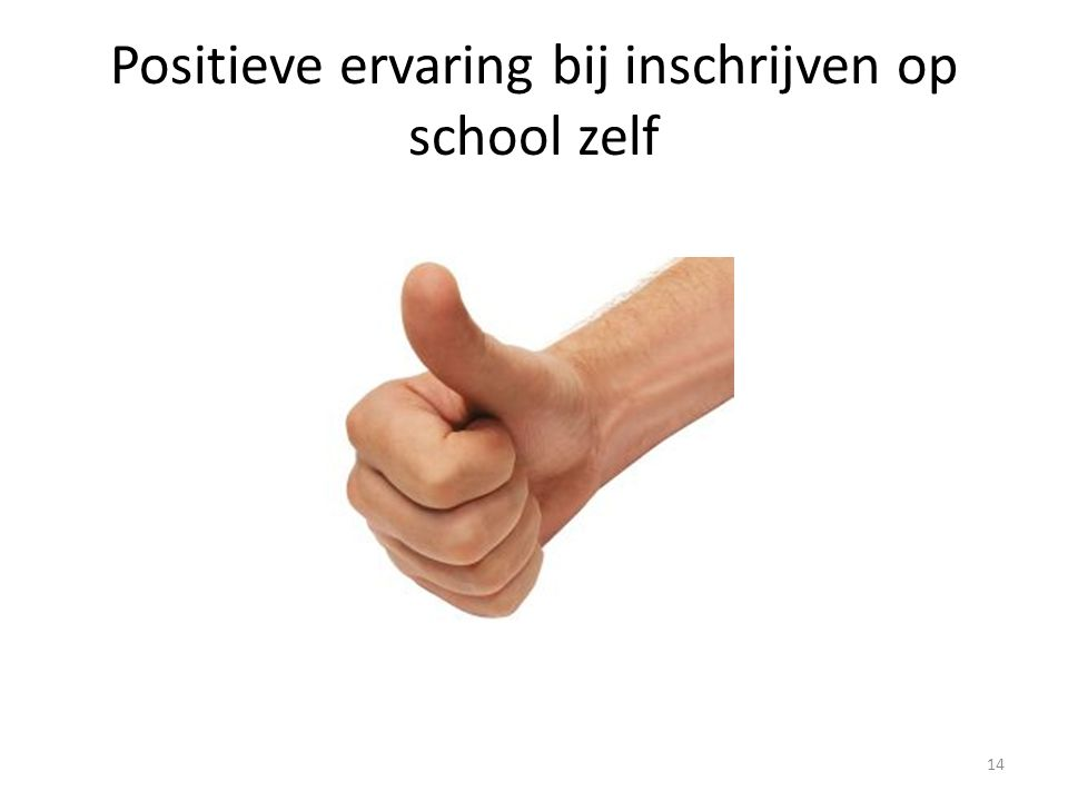 Positieve ervaring bij inschrijven op school zelf 14