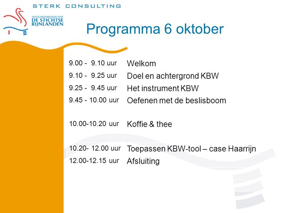 Programma 6 oktober 9.00 - 9.10 uur Welkom 9.10 - 9.25 uur Doel en achtergrond KBW 9.25 - 9.45 uur Het instrument KBW 9.45 - 10.00 uur Oefenen met de beslisboom 10.00-10.20 uur Koffie & thee 10.20- 12.00 uur Toepassen KBW-tool – case Haarrijn 12.00-12.15 uur Afsluiting