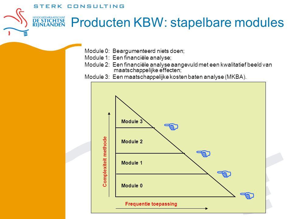 Module 0: Beargumenteerd niets doen; Module 1: Een financiële analyse; Module 2: Een financiële analyse aangevuld met een kwalitatief beeld van maatschappelijke effecten; Module 3: Een maatschappelijke kosten baten analyse (MKBA).