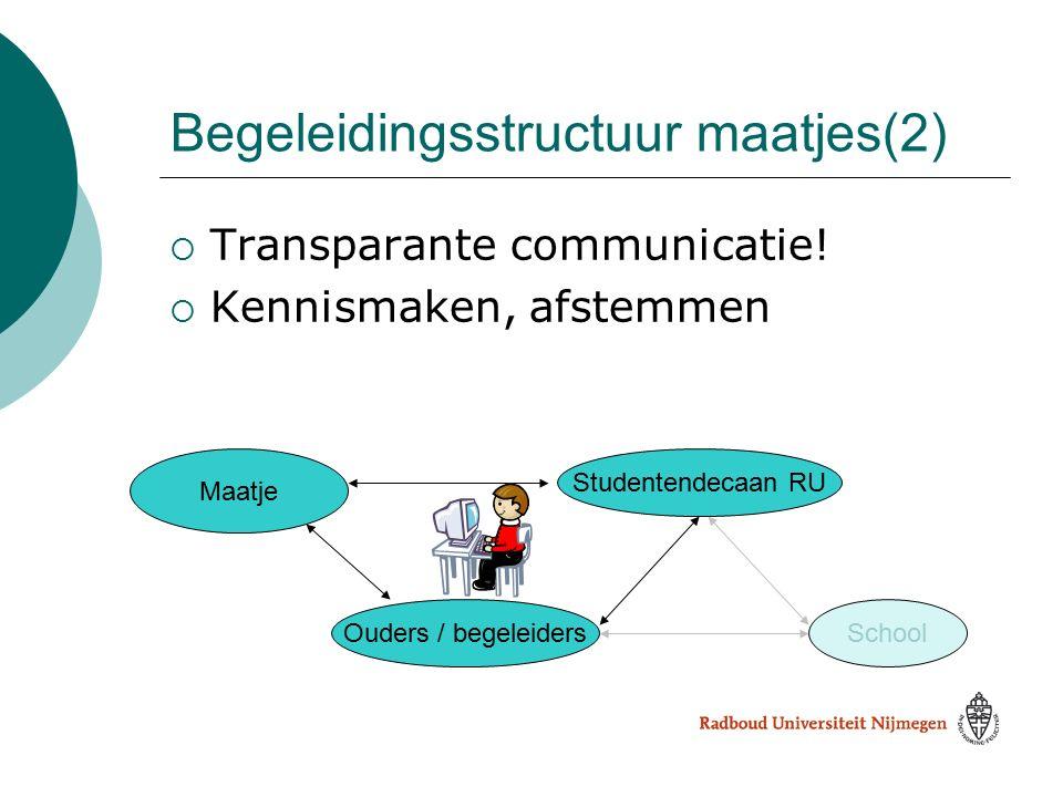 Begeleidingsstructuur maatjes(2)  Transparante communicatie!  Kennismaken, afstemmen Ouders / begeleidersSchool Studentendecaan RU Maatje
