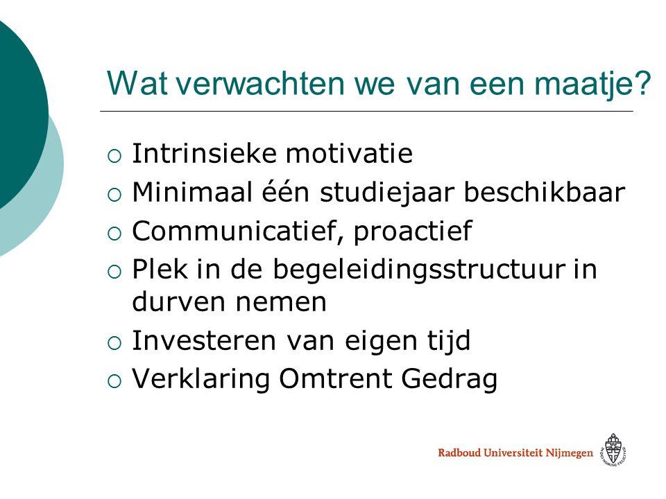 Wat verwachten we van een maatje?  Intrinsieke motivatie  Minimaal één studiejaar beschikbaar  Communicatief, proactief  Plek in de begeleidingsst
