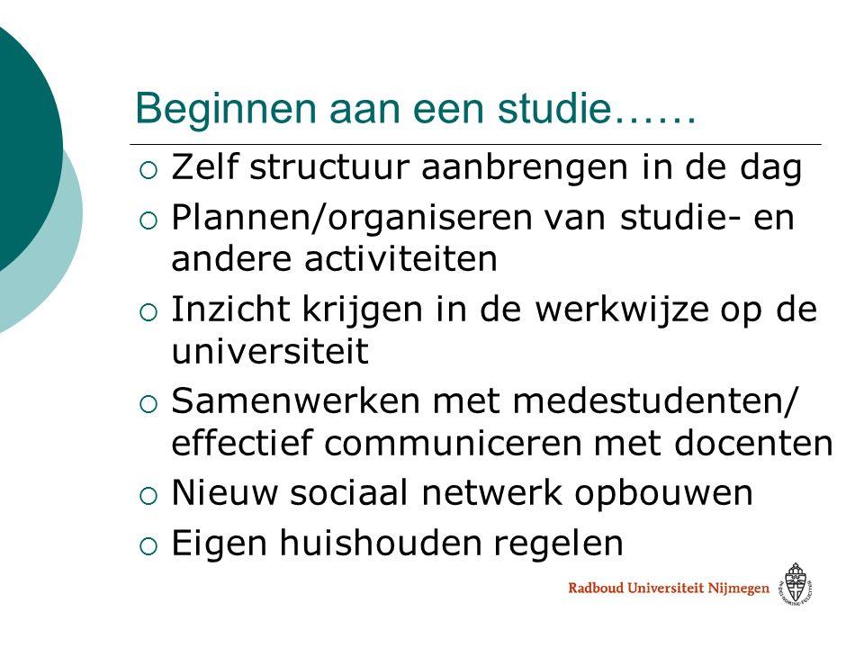 Beginnen aan een studie……  Zelf structuur aanbrengen in de dag  Plannen/organiseren van studie- en andere activiteiten  Inzicht krijgen in de werkw