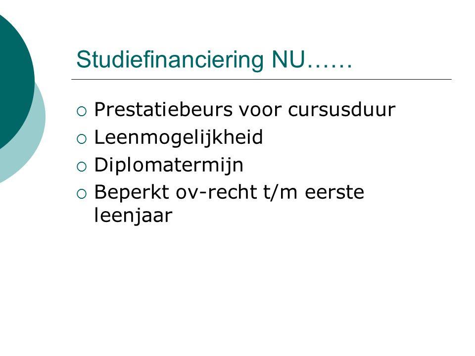 Studiefinanciering NU……  Prestatiebeurs voor cursusduur  Leenmogelijkheid  Diplomatermijn  Beperkt ov-recht t/m eerste leenjaar