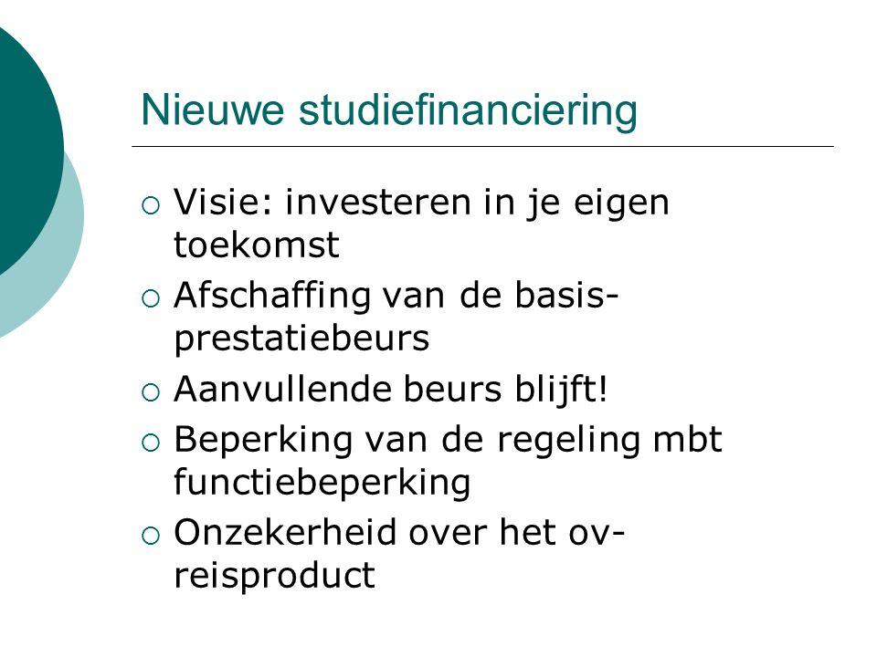 Nieuwe studiefinanciering  Visie: investeren in je eigen toekomst  Afschaffing van de basis- prestatiebeurs  Aanvullende beurs blijft!  Beperking