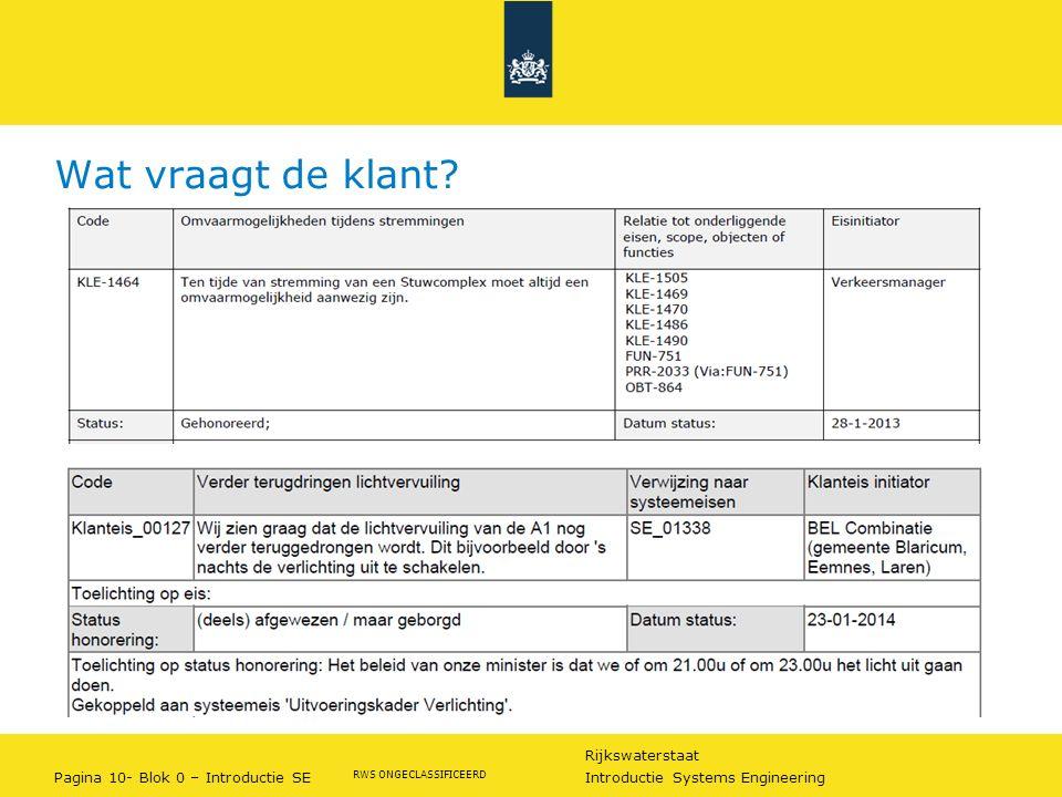 Rijkswaterstaat Pagina 10- Blok 0 – Introductie SE Introductie Systems Engineering RWS ONGECLASSIFICEERD Wat vraagt de klant?