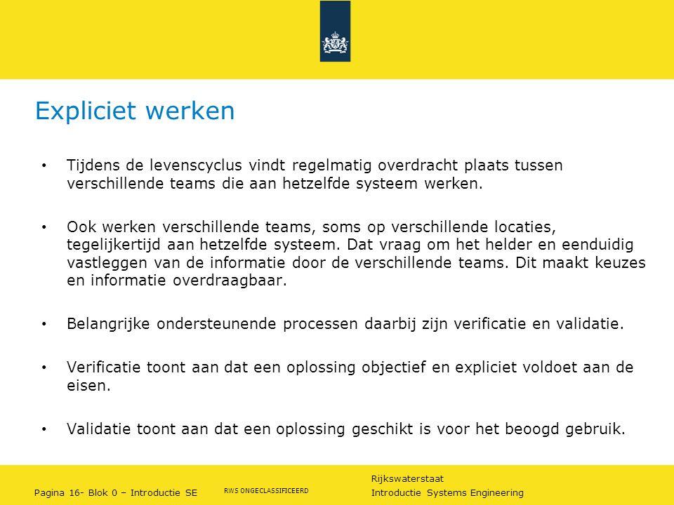 Rijkswaterstaat Pagina 16- Blok 0 – Introductie SE Introductie Systems Engineering RWS ONGECLASSIFICEERD Expliciet werken Tijdens de levenscyclus vind