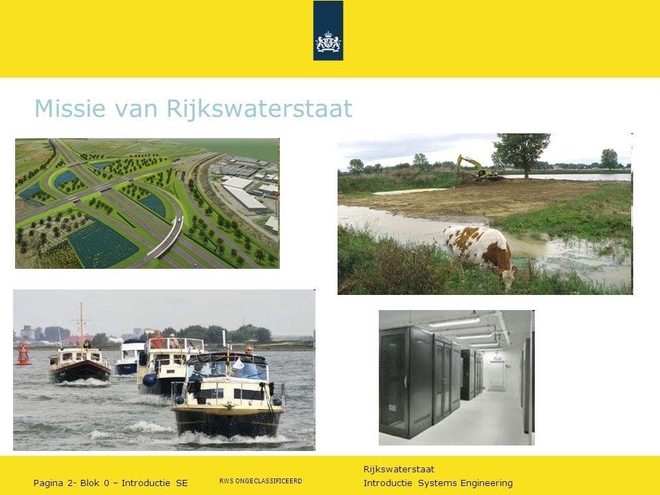 Rijkswaterstaat Pagina 2- Blok 0 – Introductie SE Introductie Systems Engineering RWS ONGECLASSIFICEERD Missie van Rijkswaterstaat