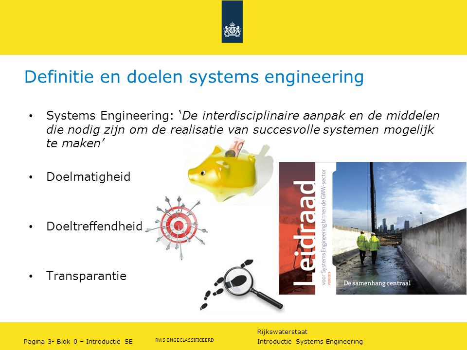 Rijkswaterstaat Pagina 3- Blok 0 – Introductie SE Introductie Systems Engineering RWS ONGECLASSIFICEERD Definitie en doelen systems engineering System