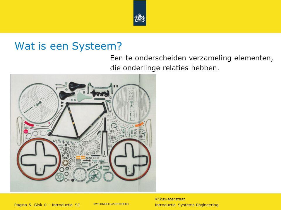 Rijkswaterstaat Pagina 6- Blok 0 – Introductie SE Introductie Systems Engineering RWS ONGECLASSIFICEERD Systeemdenken: niveaus in systemen