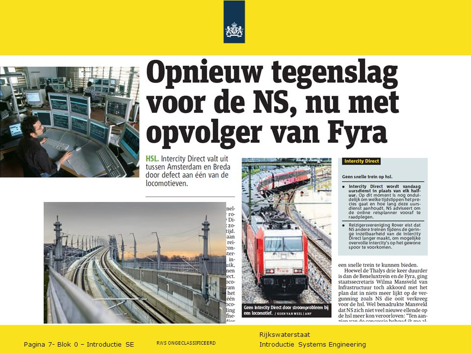 Rijkswaterstaat Pagina 7- Blok 0 – Introductie SE Introductie Systems Engineering RWS ONGECLASSIFICEERD