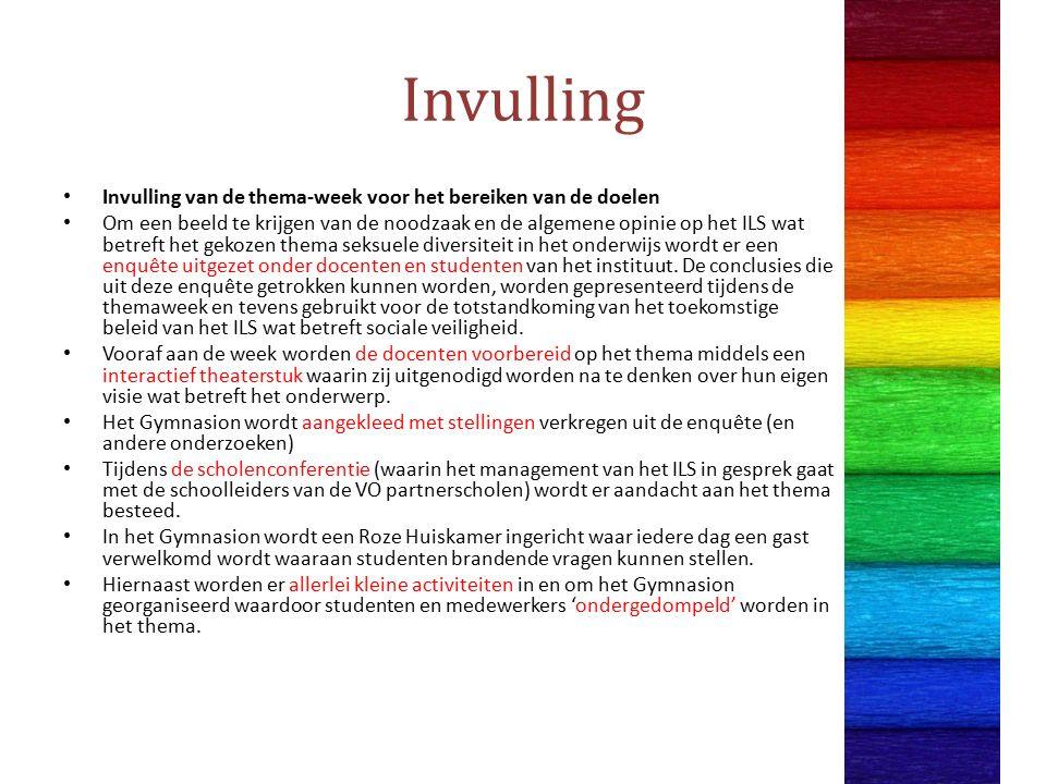 Invulling Invulling van de thema-week voor het bereiken van de doelen Om een beeld te krijgen van de noodzaak en de algemene opinie op het ILS wat betreft het gekozen thema seksuele diversiteit in het onderwijs wordt er een enquête uitgezet onder docenten en studenten van het instituut.