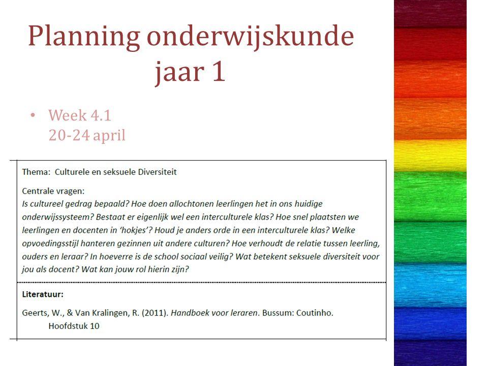 Planning onderwijskunde jaar 1 Week 4.1 20-24 april