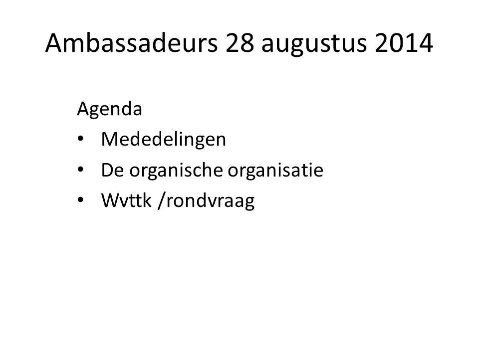 Ambassadeurs 28 augustus 2014 Agenda Mededelingen De organische organisatie Wvttk /rondvraag