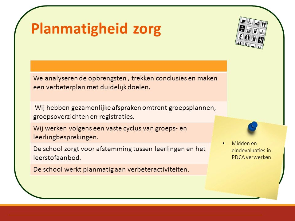 Planmatigheid zorg We analyseren de opbrengsten, trekken conclusies en maken een verbeterplan met duidelijk doelen. Wij hebben gezamenlijke afspraken