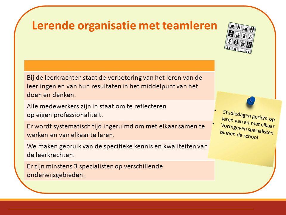 Lerende organisatie met teamleren. Bij de leerkrachten staat de verbetering van het leren van de leerlingen en van hun resultaten in het middelpunt va