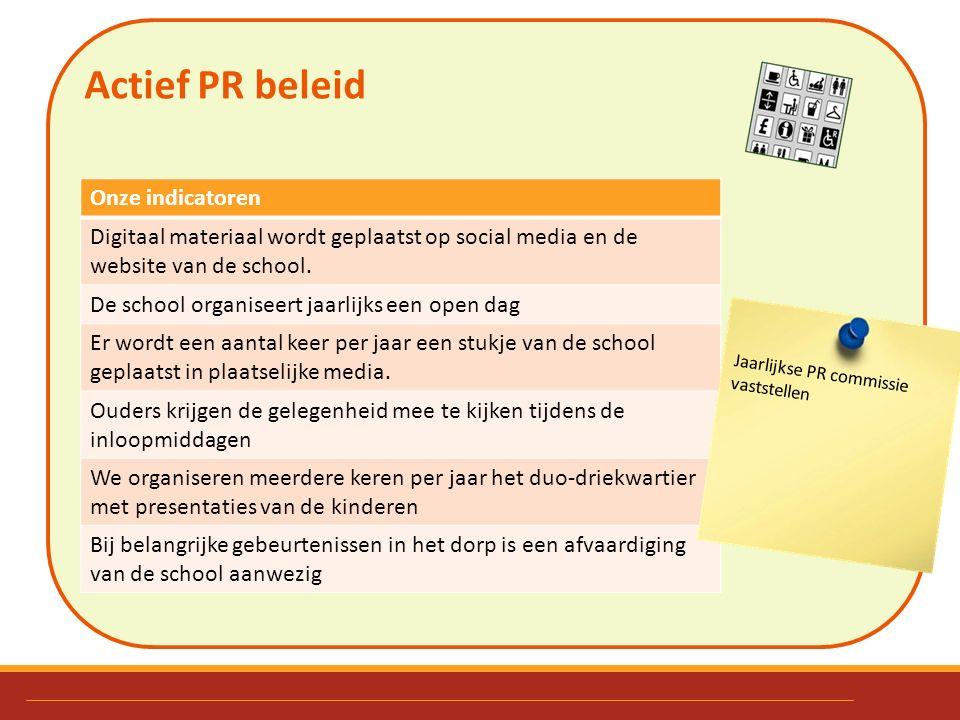 Actief PR beleid. Onze indicatoren Digitaal materiaal wordt geplaatst op social media en de website van de school. De school organiseert jaarlijks een
