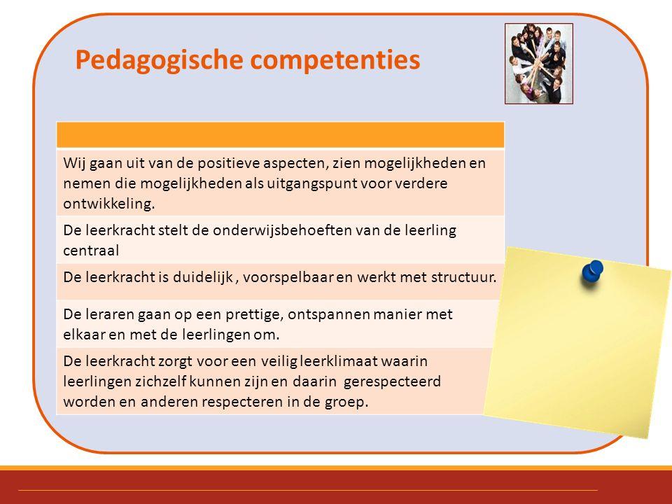 Pedagogische competenties. Wij gaan uit van de positieve aspecten, zien mogelijkheden en nemen die mogelijkheden als uitgangspunt voor verdere ontwikk