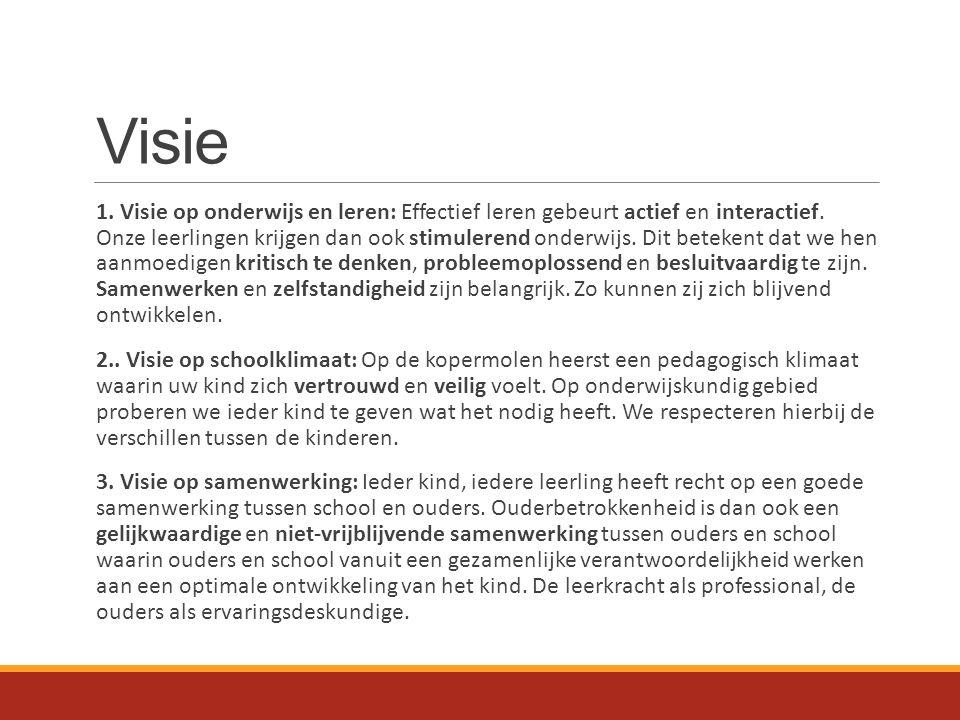 Visie 1. Visie op onderwijs en leren: Effectief leren gebeurt actief en interactief. Onze leerlingen krijgen dan ook stimulerend onderwijs. Dit beteke