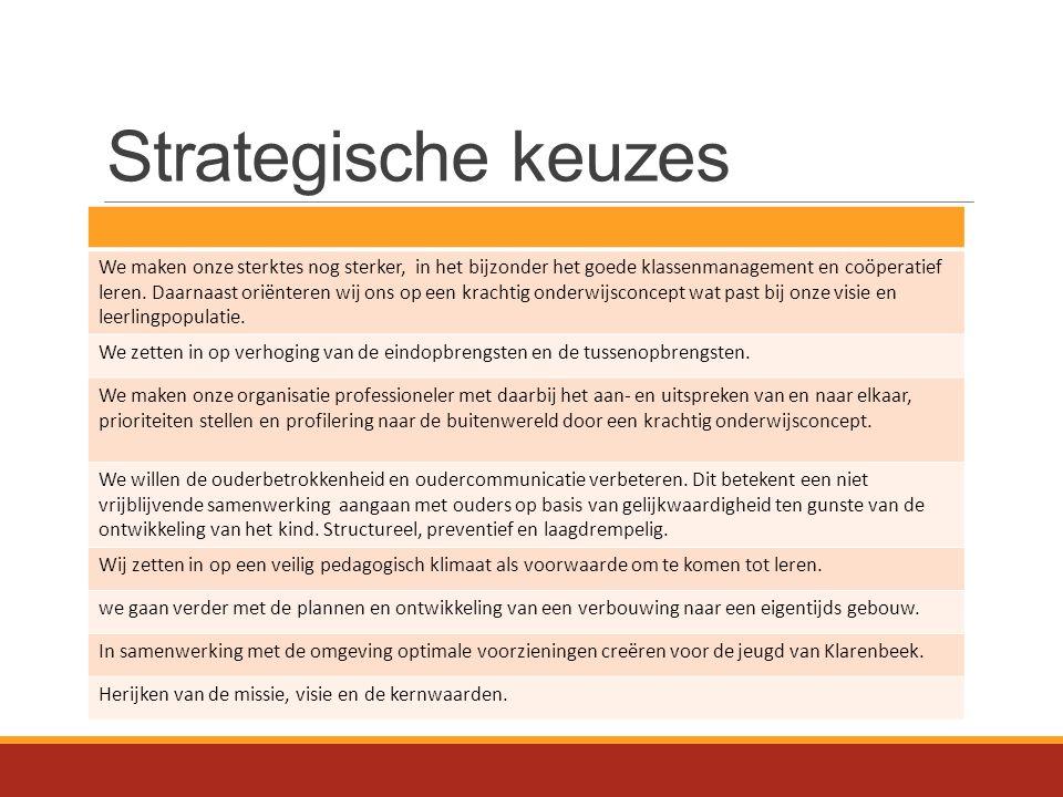 Strategische keuzes We maken onze sterktes nog sterker, in het bijzonder het goede klassenmanagement en coöperatief leren. Daarnaast oriënteren wij on