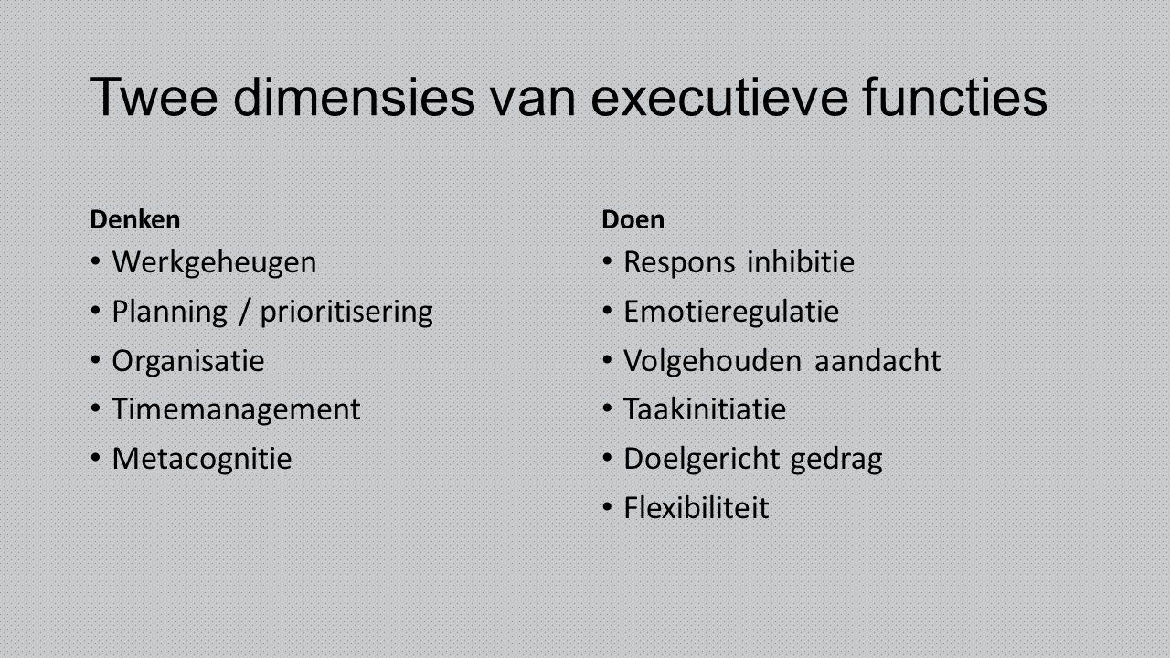 Twee dimensies van executieve functies Denken Werkgeheugen Planning / prioritisering Organisatie Timemanagement Metacognitie Doen Respons inhibitie Em