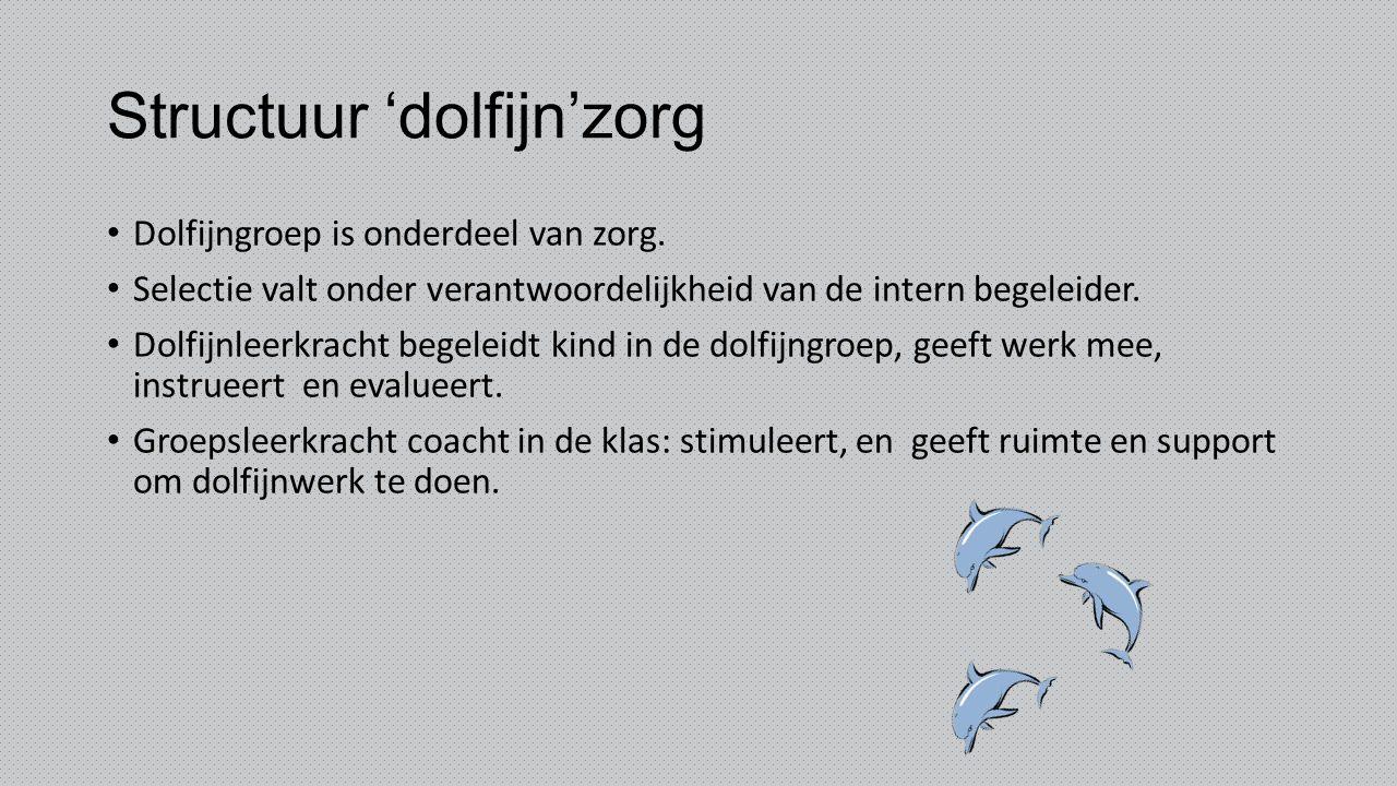 Structuur 'dolfijn'zorg Dolfijngroep is onderdeel van zorg. Selectie valt onder verantwoordelijkheid van de intern begeleider. Dolfijnleerkracht begel