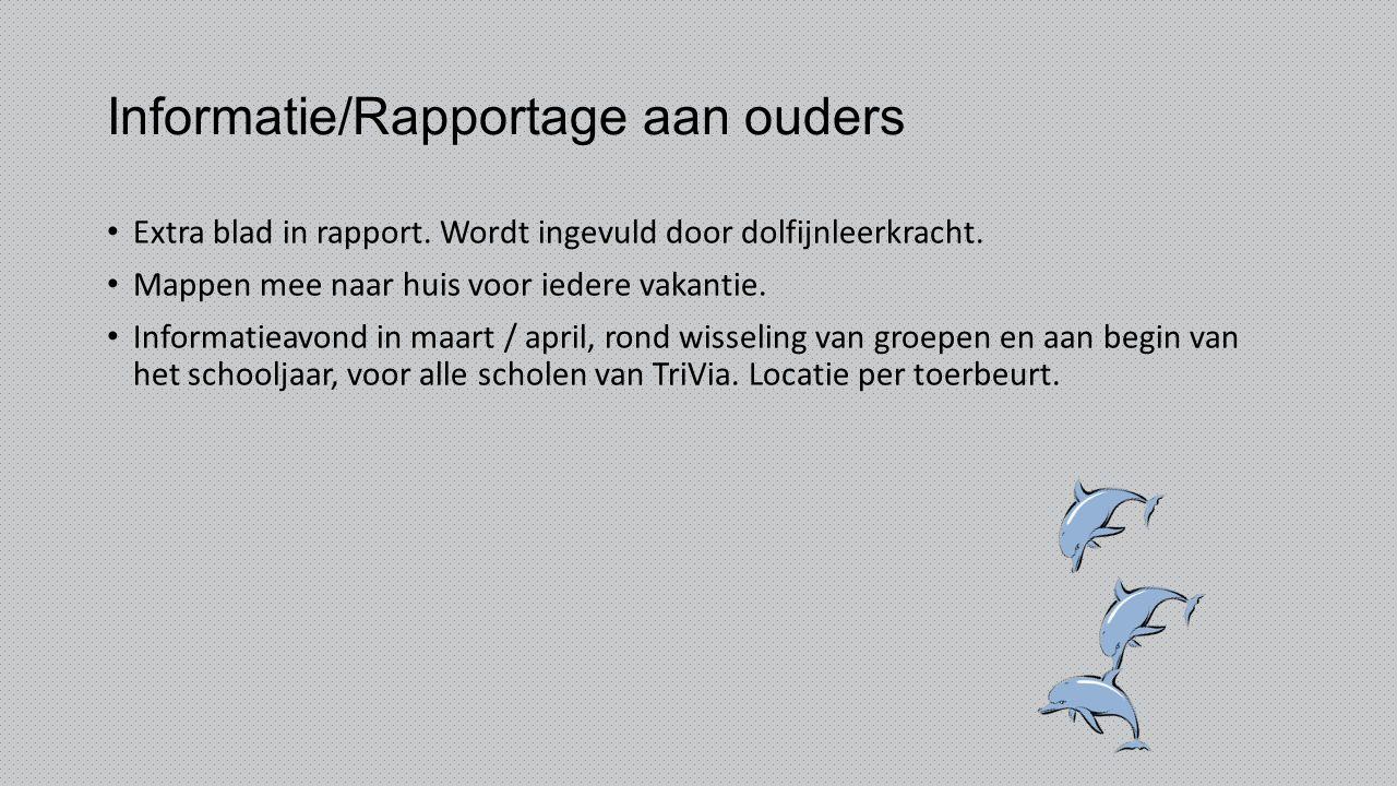 Informatie/Rapportage aan ouders Extra blad in rapport. Wordt ingevuld door dolfijnleerkracht. Mappen mee naar huis voor iedere vakantie. Informatieav
