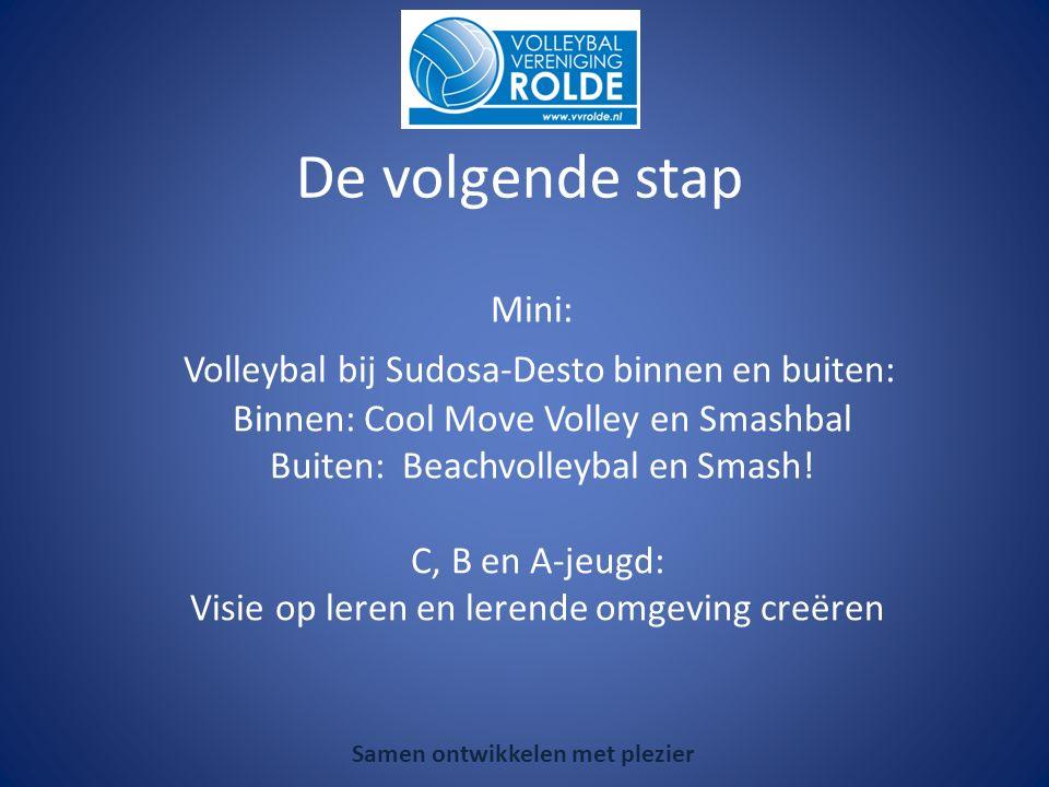 Mini: Volleybal bij Sudosa-Desto binnen en buiten: Binnen: Cool Move Volley en Smashbal Buiten: Beachvolleybal en Smash.