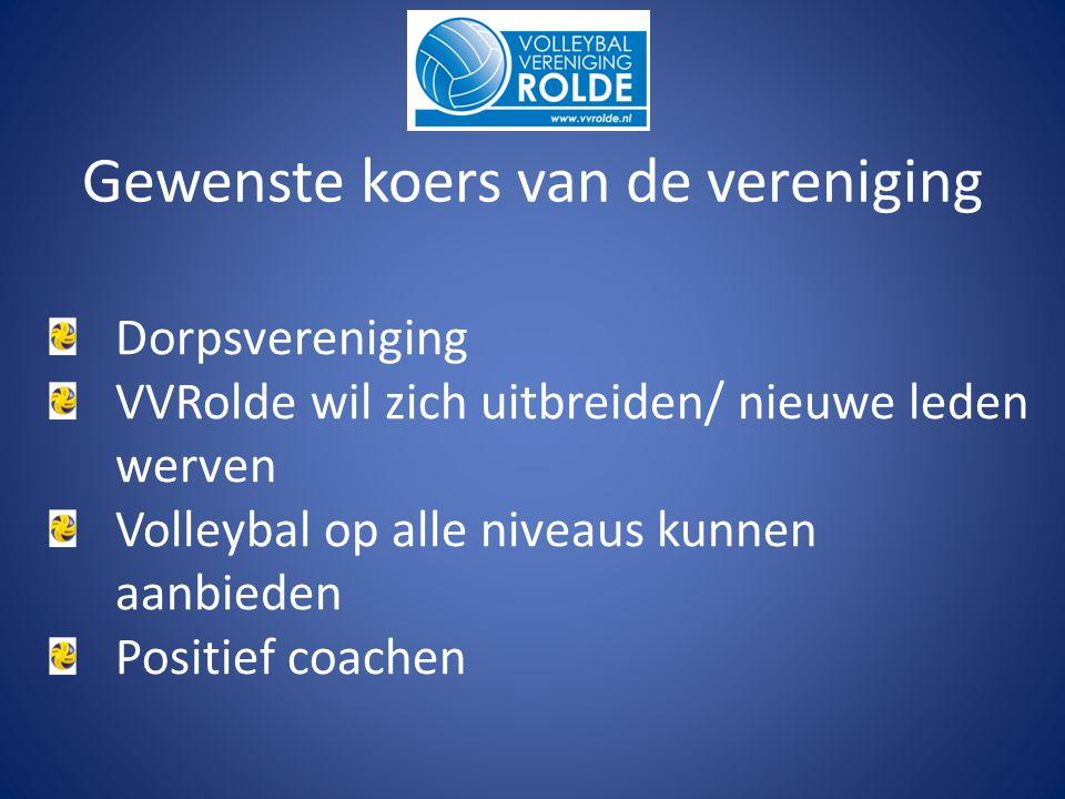 Dorpsvereniging VVRolde wil zich uitbreiden/ nieuwe leden werven Volleybal op alle niveaus kunnen aanbieden Positief coachen Gewenste koers van de vereniging