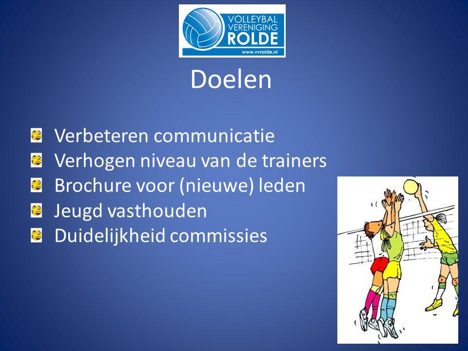 Doelen Verbeteren communicatie Verhogen niveau van de trainers Brochure voor (nieuwe) leden Jeugd vasthouden Duidelijkheid commissies